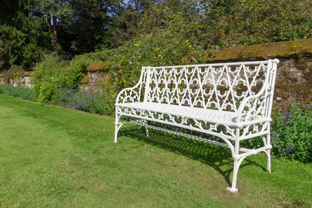 scone: White metal benches in Scone Palace gardens, Scotland