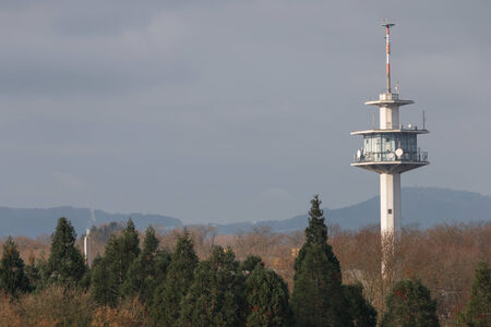 radio tower: Radio Tower in front of the Black Forest near Freiburg, Germany