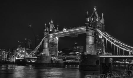 london tower bridge: Monochromatic night shot of the world famous London Tower Bridge, HDR version