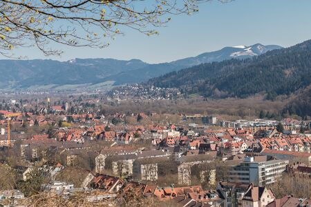 freiburg: Aerial view over the eastern part of Freiburg, a famous medieval city at the edge of the Black Forest, Germany Stock Photo