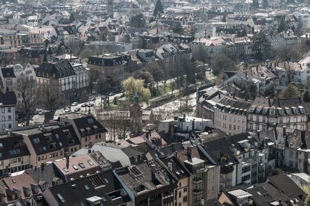 freiburg: Aerial view over a part of Freiburg city, Germany Stock Photo