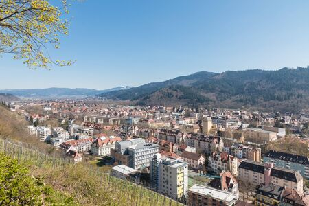 freiburg: View over the eastern part of Freiburg city and the adjacent Black Forest, Germany