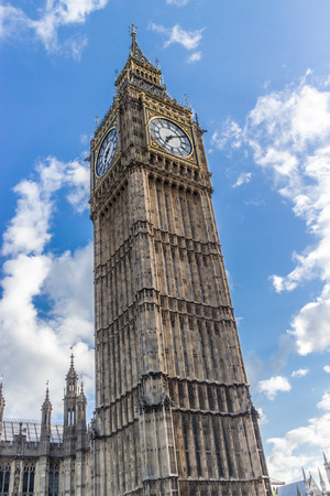 nicknamed: World famous clock tower of the British Houses of Parliament, nicknamed Big Ben, under a blue summer sky Stock Photo