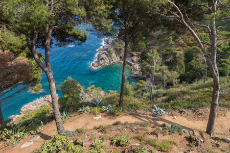 clear waters: Clear waters of a beautiful Mediterranean rock coast bay in Palafrugell, Catalonia, Spain Stock Photo
