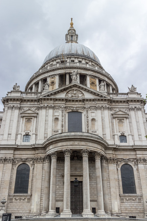 st pauls: Wolrd famous St. Pauls Cathedral with its columns, statues and ornaments, close to the River Thames, London