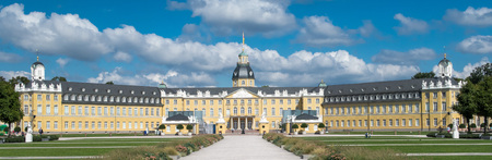 karlsruhe: Impressive wide shot of the famous palace in Karlsruhe city, Germany Editorial