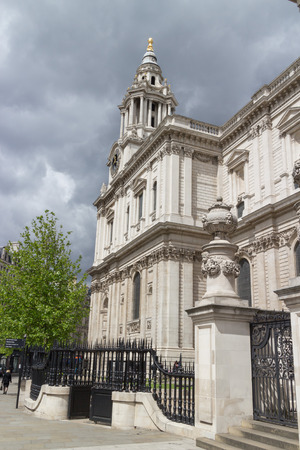 st pauls: World famous St. Pauls Cathedral with its columns, statues and ornaments, close to the River Thames, London