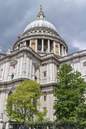 World famous St. Pauls Cathedral with its columns, statues and ornaments, close to the River Thames, London