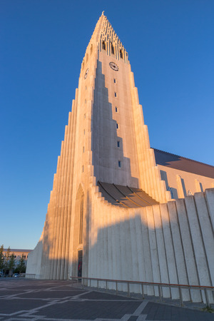 lutheran: World famous Hallgrimskirkja, a lutheran cathedral in Reykjavik, shot in the warm light of a summer evening sunset Stock Photo