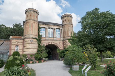 karlsruhe: Small castle building in the botanical garden of Karlsruhe city, next to the famous palace