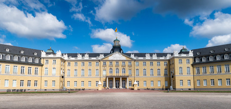 karlsruhe: Frontal view of the famous Karlsruhe city palace or castle, Germany