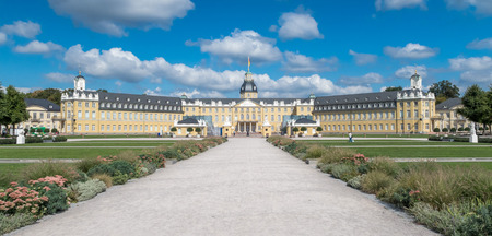 Frontal view of the famous Karlsruhe city palace or castle, Germany