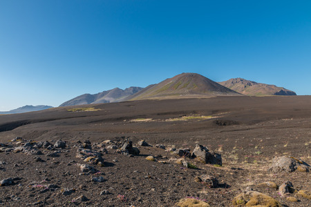 desert sand: Barren lava field, resembling a black sand desert, called Berserkjahraun in the northwest of Snaefellsnes peninsula, Iceland