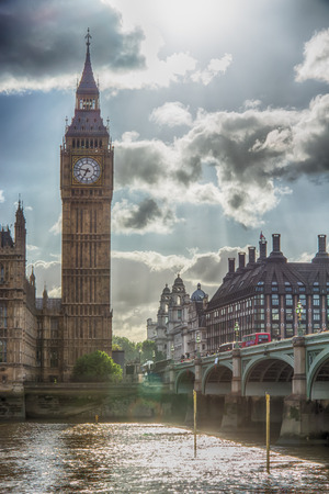 commons: HDR image of world famous Big Ben clock tower next to Westminster Bridge in bright sunlight