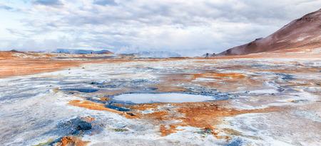 fumarole: Steaming fumarole fields and huge mud pot on Hverir wasteland near Krafla, Myvatn, Iceland, HDR version Stock Photo