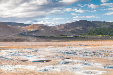 lonesome: Lonesome road to the Hverir solfatara fields in Kafla mountains, Iceland Stock Photo