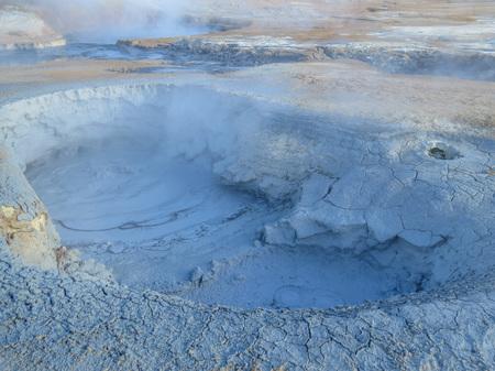 fumarole: Steaming fumarole fields and huge mud pot on Hverir wasteland near Krafla, Myvatn, Iceland Stock Photo