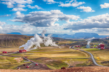 crater highlands: View over the Krafla area with its geothermal power plant, near Lake Myvatn, Iceland, HDR version
