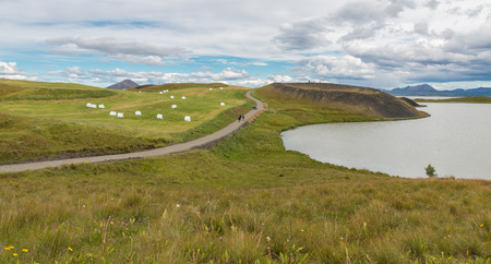 craters: Lush green area at Lake Myvatn with its famous pseudo craters, northern Iceland