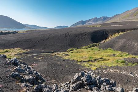 lava field: Barren lava field, resembling a black sand desert, called Berserkjahraun in the northwest of Snaefellsnes peninsula, Iceland