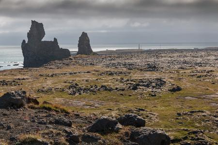 south coast: Strange lava formations, called Londrangar, at the south coast of Snaefellsnes peninsula, Iceland