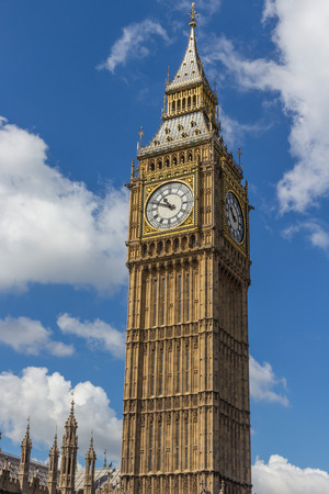 World famous big ben clock tower of the London Houses of Parliament