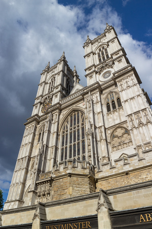 World famous Westminster Abbey cathedral front in London, England, shot against a perfect summer sky Stock Photo