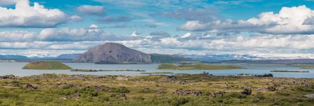 erupting: Spectacular volcanic landscape around Lake Myvatn, Iceland