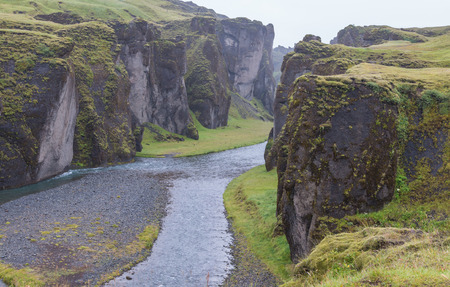 obrero: View into world famous Fjadrargljufur canyon, one of the most beautiful sights in southern Iceland