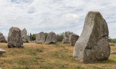 Ancient standing stones of Carnac, Brittany, northern France, a mysterious collection of huge stones from the neolithic age