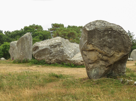 druid: Ancient standing stones of Carnac, Brittany, northern France, a mysterious collection of huge stones from the neolithic age