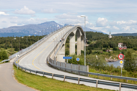 Beautifully designed bridge over famous Saltstraumen fjord and dangerous vortex near Bodo, northern Norway Stock fotó
