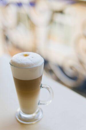 Delicious cappuccino with foam. Mug of hot cappuccino Reklamní fotografie