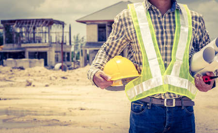 construction project: Engineers and construction sites. Stock Photo
