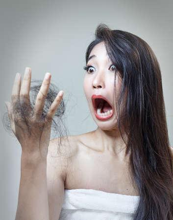 Women`s hair health and dry hair.