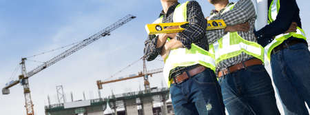Building site and building design and engineers. Standard-Bild