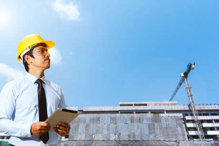 Building site and building design and engineers. Stock Photo