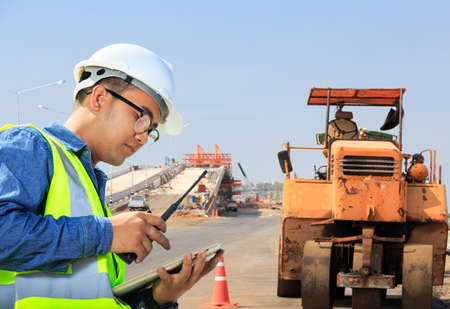 Workers are working on road and expressway construction. Stock Photo