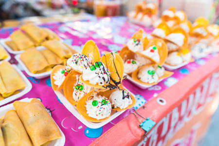 Dessert filled with cream on the street food in Thailand Stok Fotoğraf