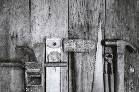 Black and white tools for builders. Stok Fotoğraf