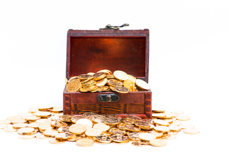 gold coins with wooden box