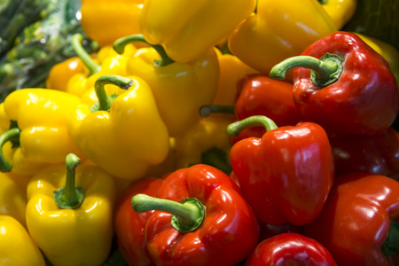 fresh peppers on the market Stock Photo