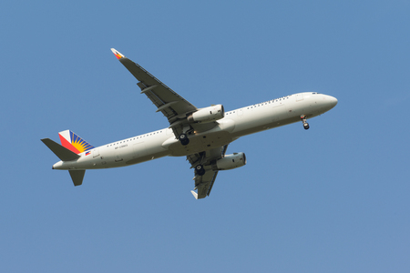 SHANGHAI, CHINA, April 2 2015: Philippine Airlines  A321 flying in the sky.