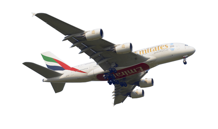 SHANGHAI, CHINA, April 2, 2015 :Emirates Airline Airbus A380 (A6-EEC)flying in the sky. Airbus A380 is the worlds biggest jet airliner