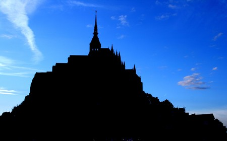 michel: A silhouette of Mont Saint Michel, France.