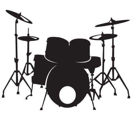 black silhuette of the drum set, isolated on white background