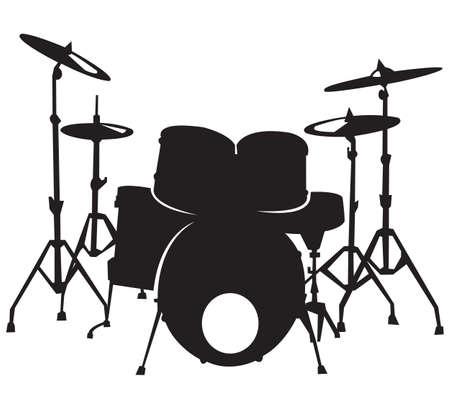 zwarte silhuette van het drumstel, geïsoleerd op een witte achtergrond