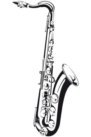 Lijn tekening van een saxofoon, die op achtergrond