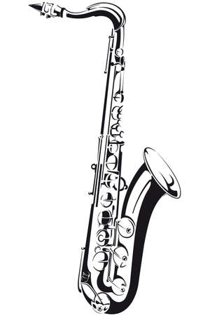 saxophone:  Line drawing of a saxophone, isolated on background