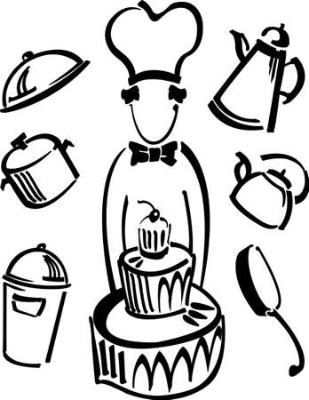 Cartoon cook with a big cake and set of utensil